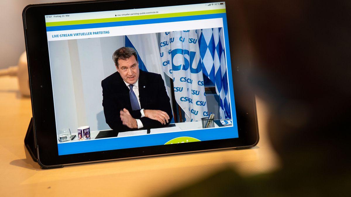 Per Livestream übertragene Rede von CSU-Chef Markus Söder beim virtuellen Parteitag