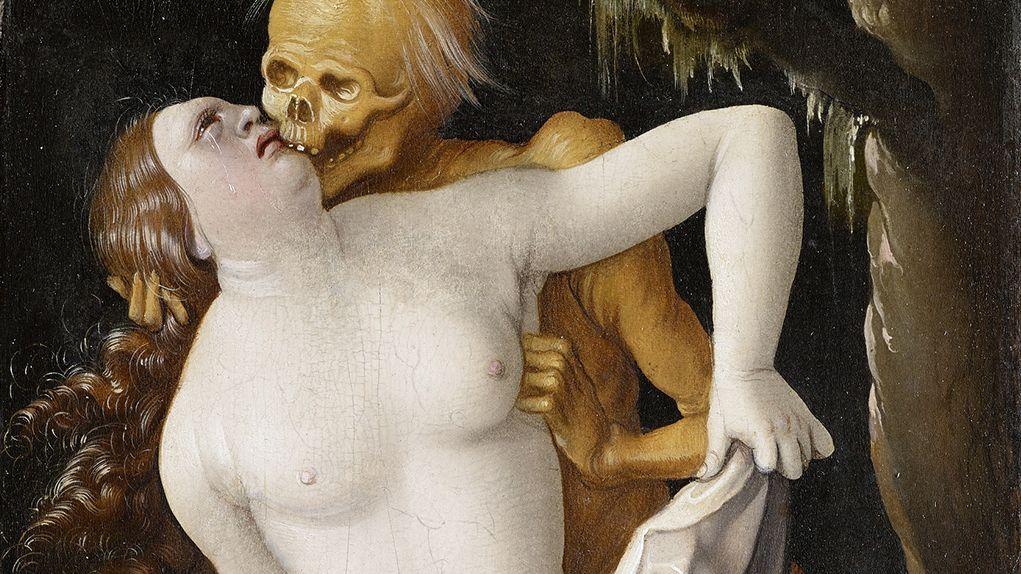 """Auf dem Gemälde """"Der Tod und die Frau"""" von Hans Baldung (1520/25) vergreift sich der Tod an einer nackten Frau"""