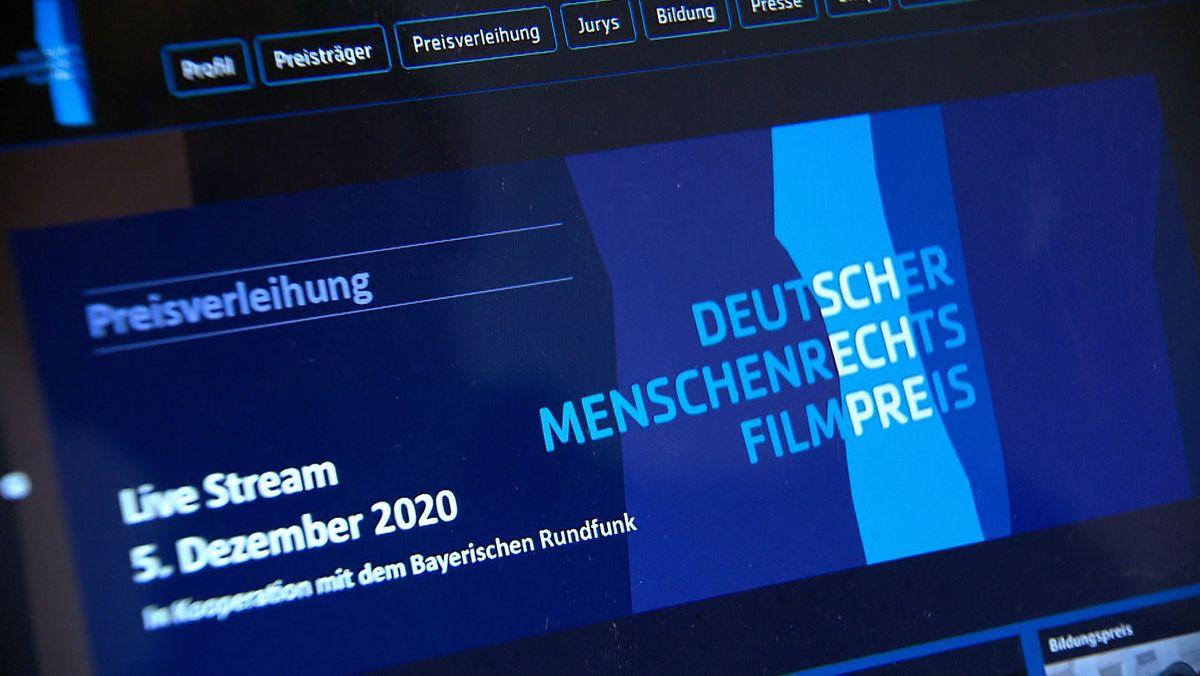 PC-Bildschirm mit Homepage des Menschenrechts-Filmpreises