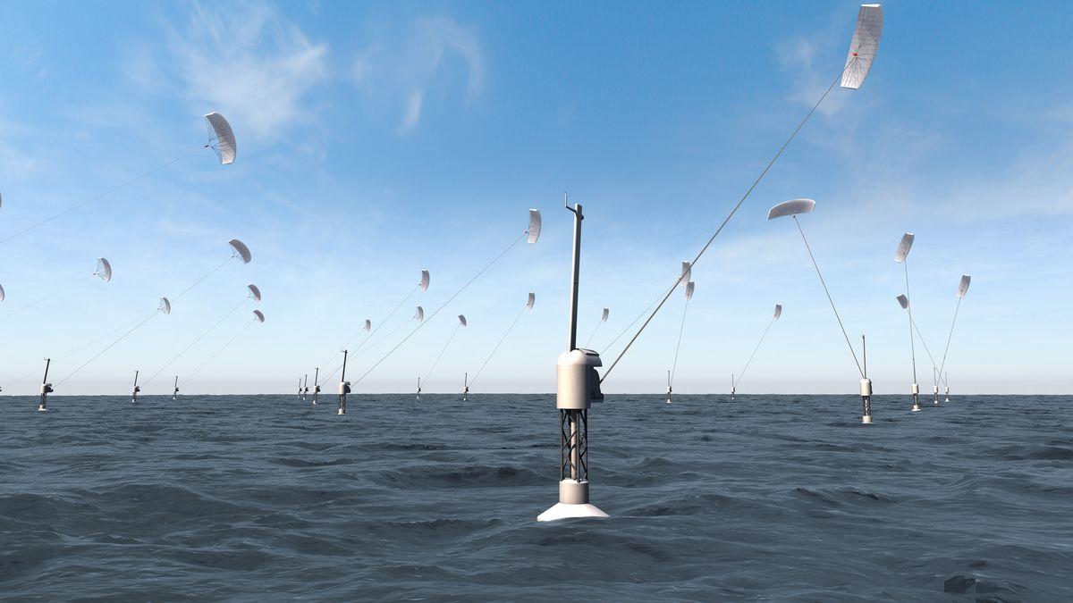 Ein computergeneriertes Bild zeigt Anlagen mit schwimmenden Plattformen und Zugdrachen, die Strom aus Höhenwind gewinnen.