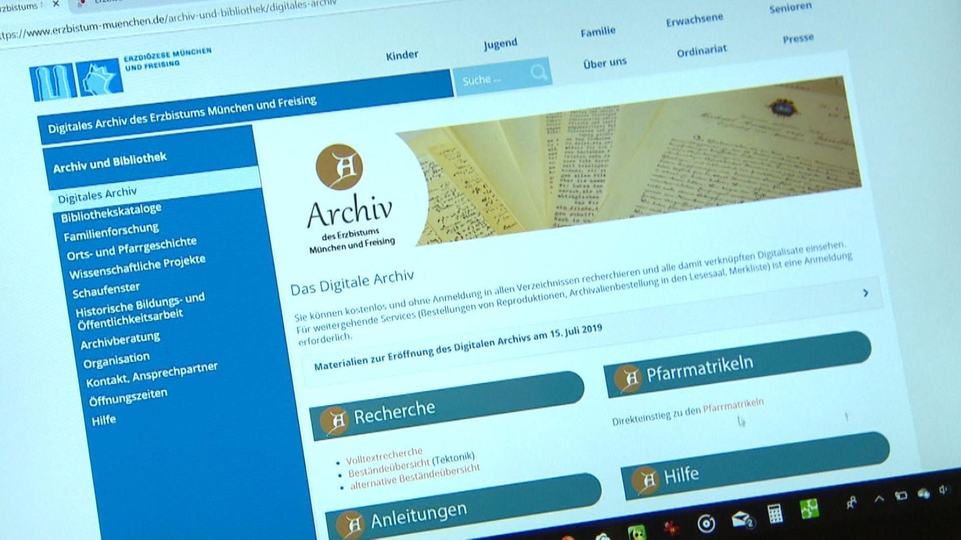 Das Archiv des Erzbistums München und Freising, eines der größten Kirchenarchive Deutschlands, steht seit Dienstag online.