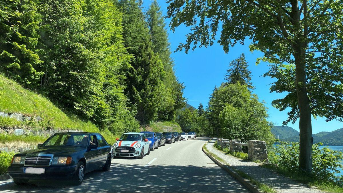 Auto an Auto entlang des Walchensees