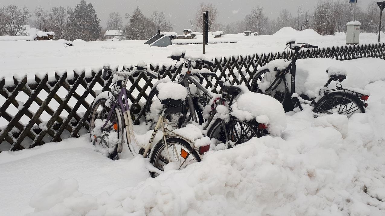 Viele Fahrradfahrer werden ihre Fahrräder erst nach der Schneeschmelze wiederfinden