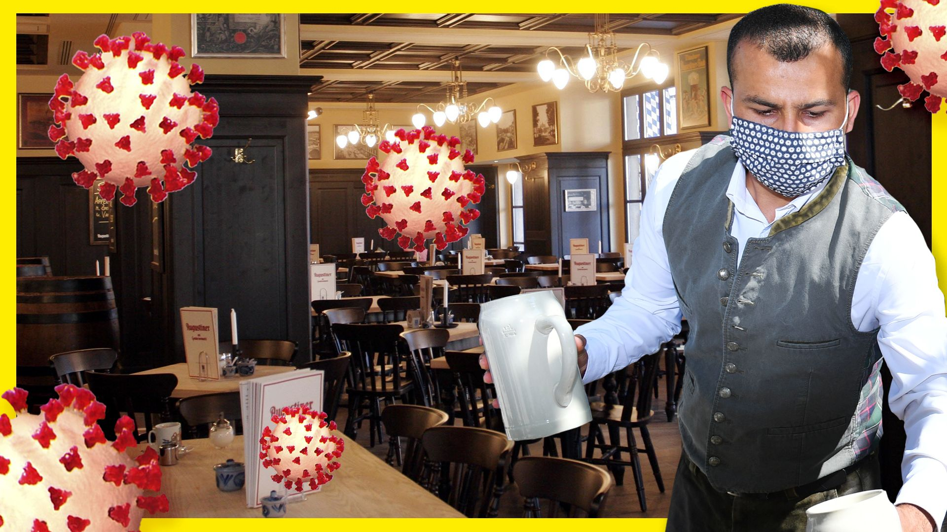 Ein Kellner mit Mund-Nasen-Schutz serviert zwei Maß Bier. Im Hintergrund ist der Innenraum eines Wirtshauses zu sehen. Dazu: grafische Darstellungen von Coronaviren.