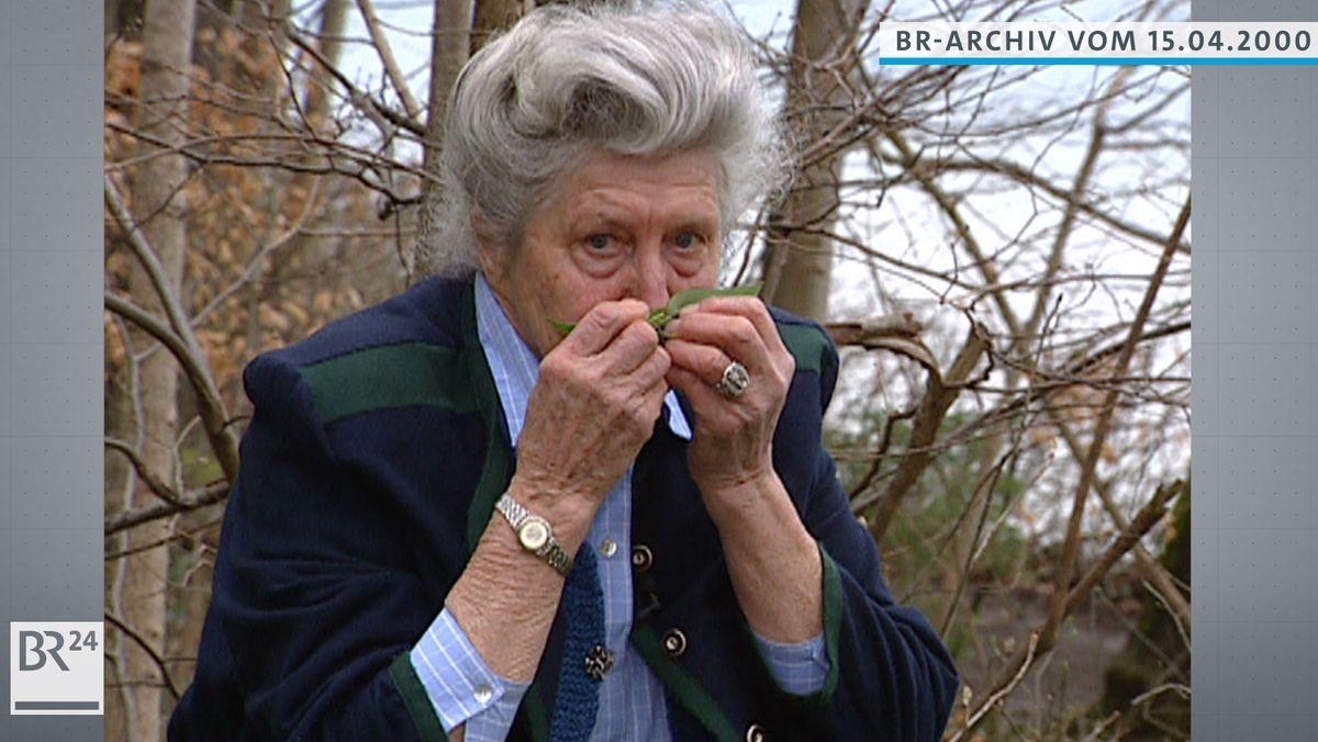 Eva Aschenbrenner riecht an Bärlauchblättern