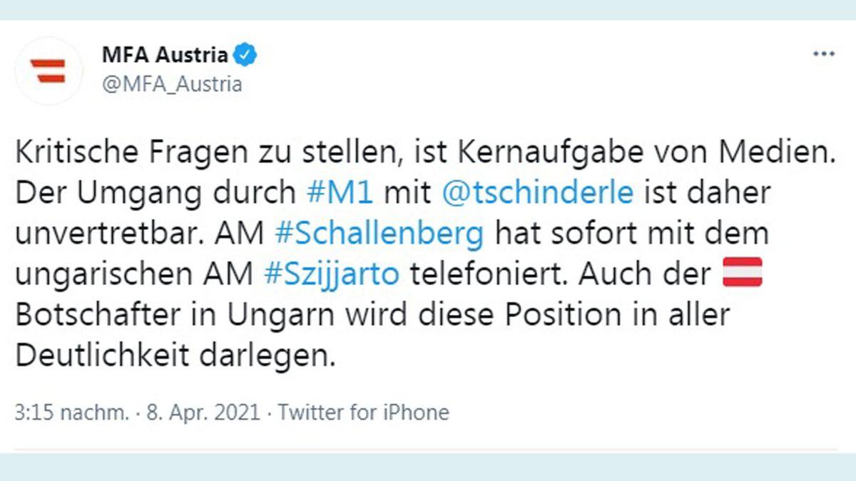 Das österreichische Außenministerium reagierte auf die Diffamierungen gegen die Journalistin Franziska Tschinderle auf ihrer Twitter-Seite. Screenshot: twitter.com/MFA_Austria