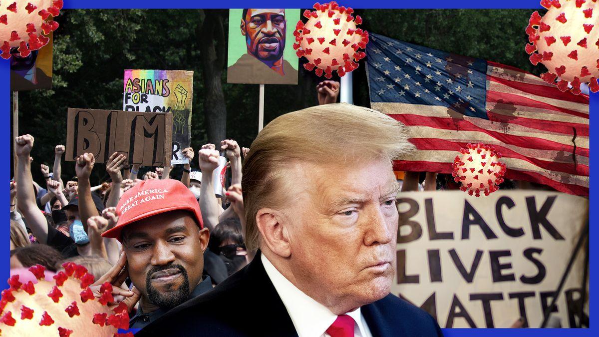 Donald Trump, Kanye West, eine zerschlissene USA-Flagge, ein Black Lives Matter Schild, Menschen, die die Faust recken.