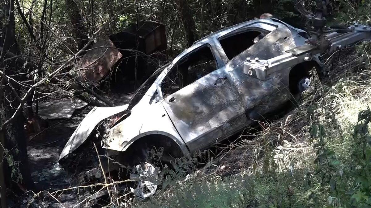 Ausgebranntes Auto bei Eschau