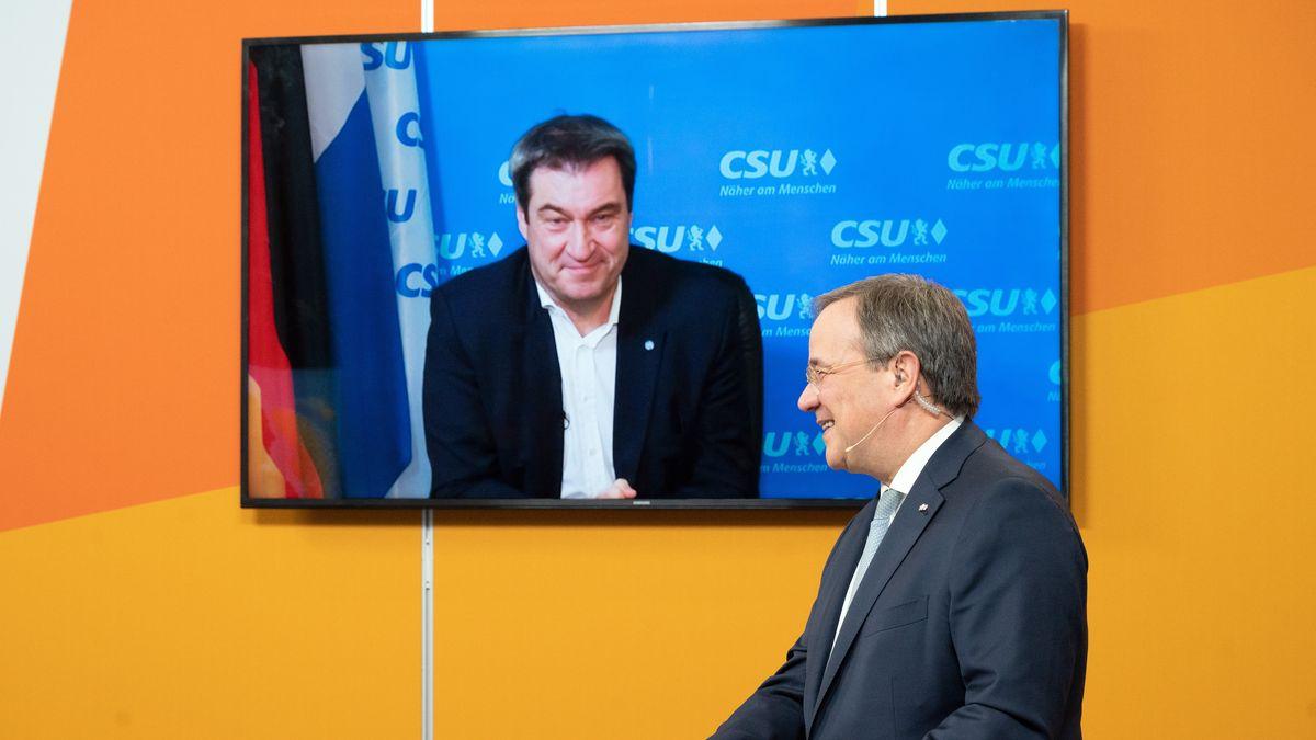 Digitaler Neujahrsempfang der CDU Nordrhein-Westfalen mit Armin Laschet und einem zugeschalteten Markus Söder