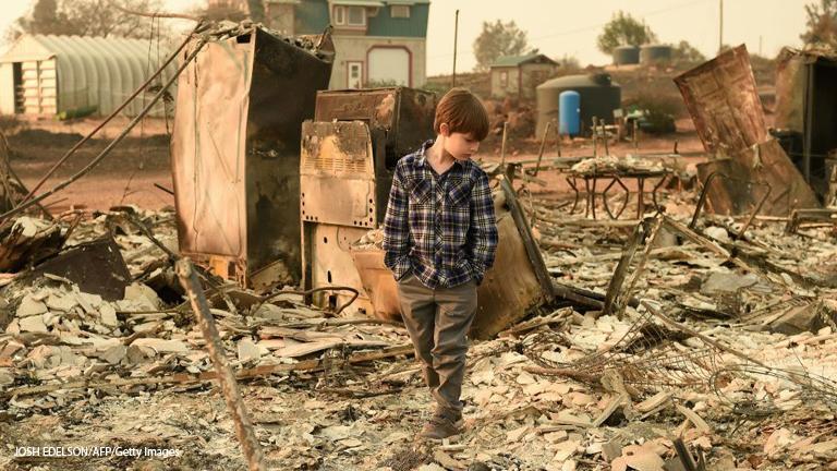 Verbrannte Erde in Paradise, Kalifornien