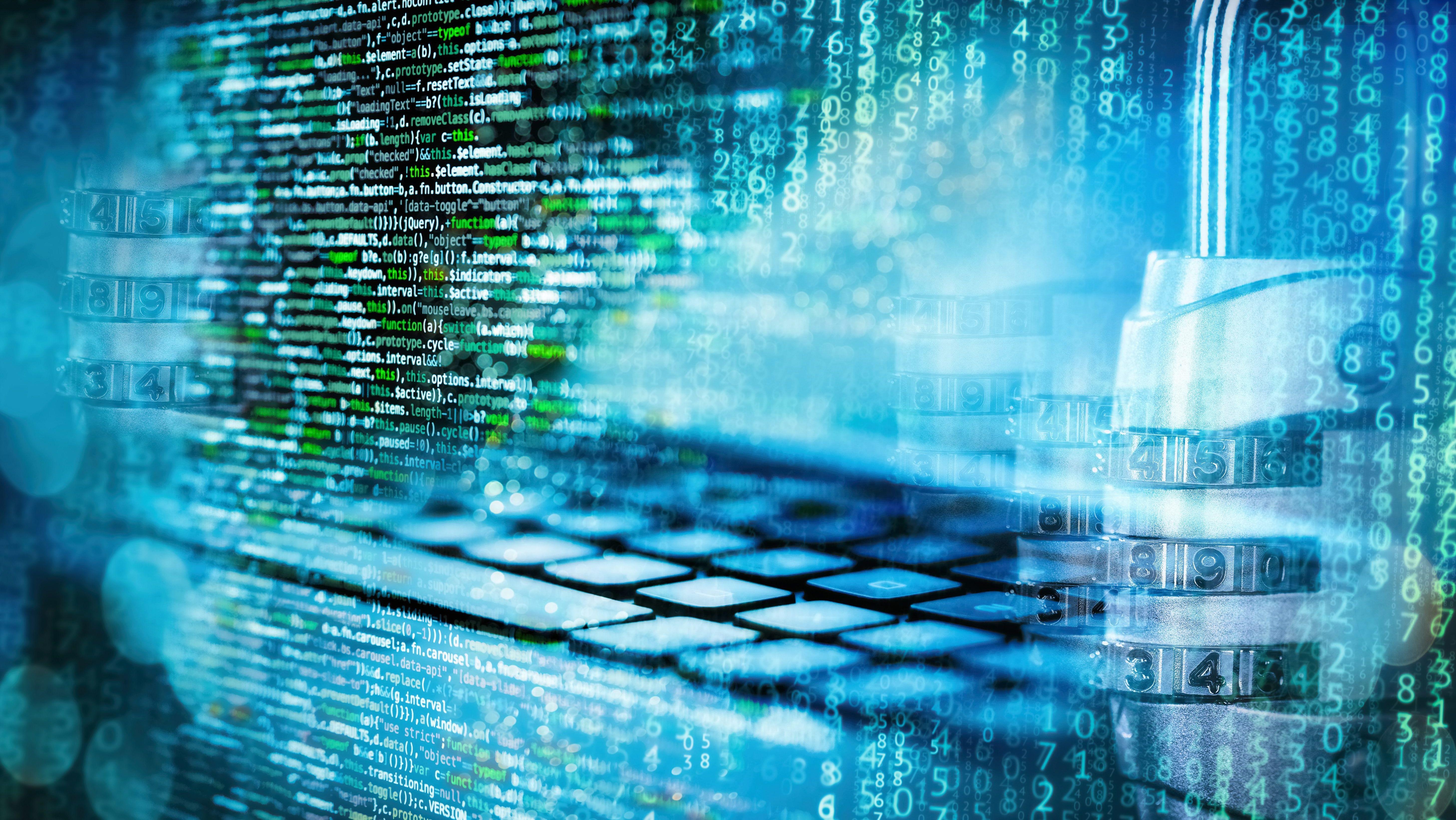 Programmiercode mit Zahlenschloss, Matrix, Computer und abstraktem technischen Hintergrund in blau