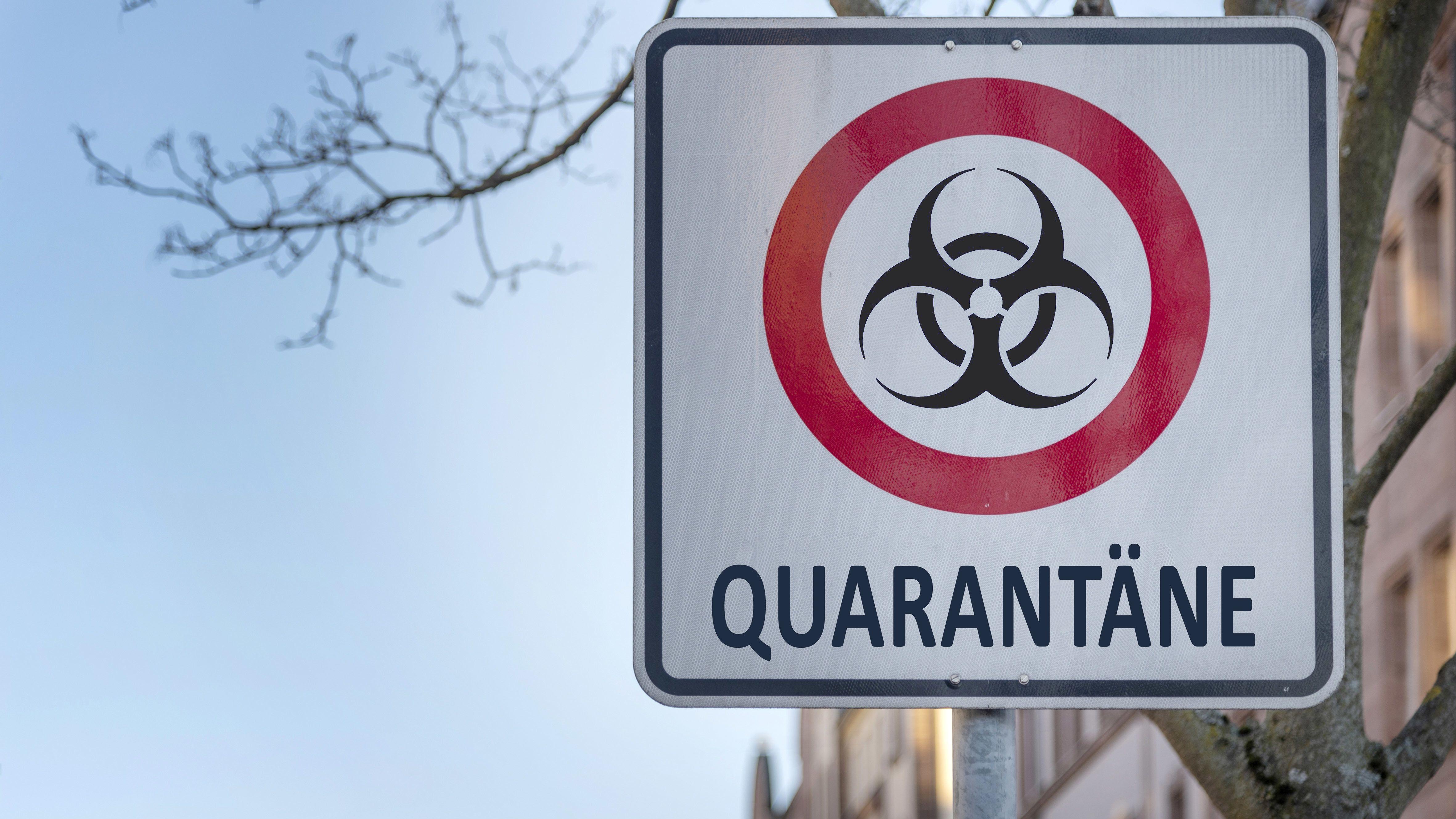 Ein Quarantäne-Schild
