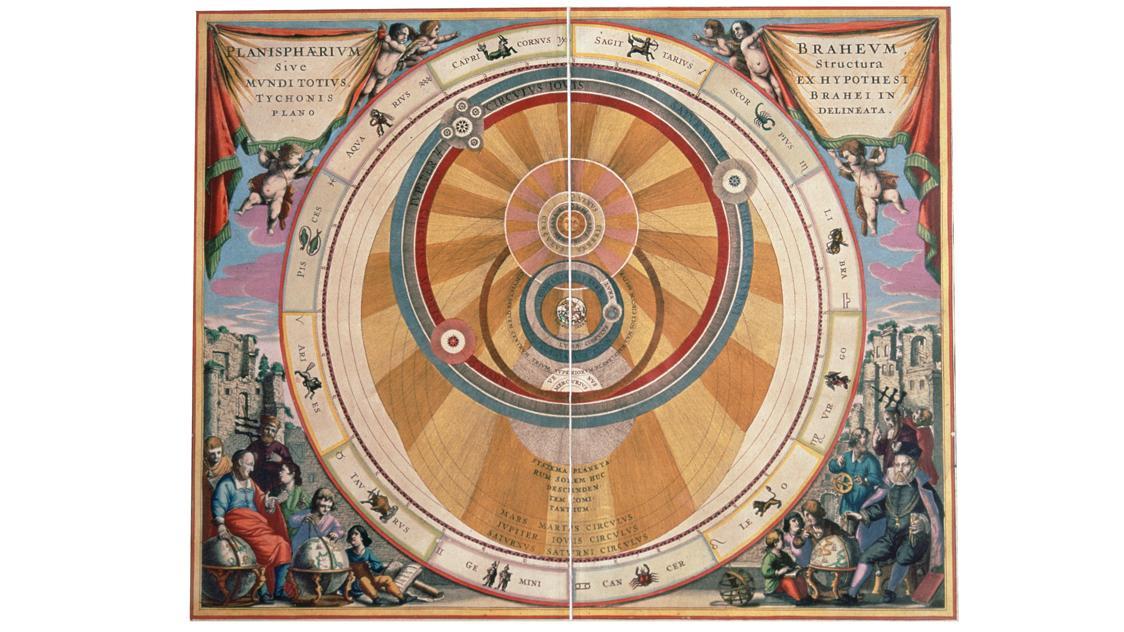 """Das Weltsystem von Tycho Brahe, Abbildung aus """"Harmonia Macrocosmica"""" aus dem 17. Jahrhundert"""