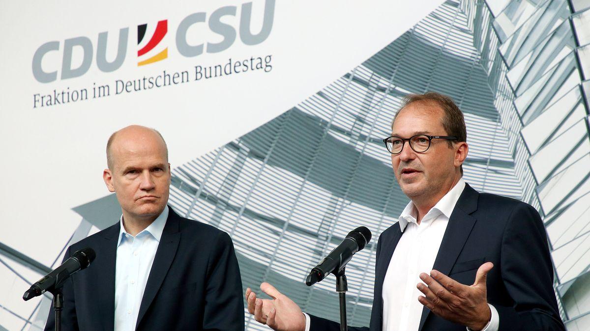 Unionsfraktionschef Ralph Brinkhaus (CDU) und CSU-Landesgruppenchef Alexander Dobrindt.