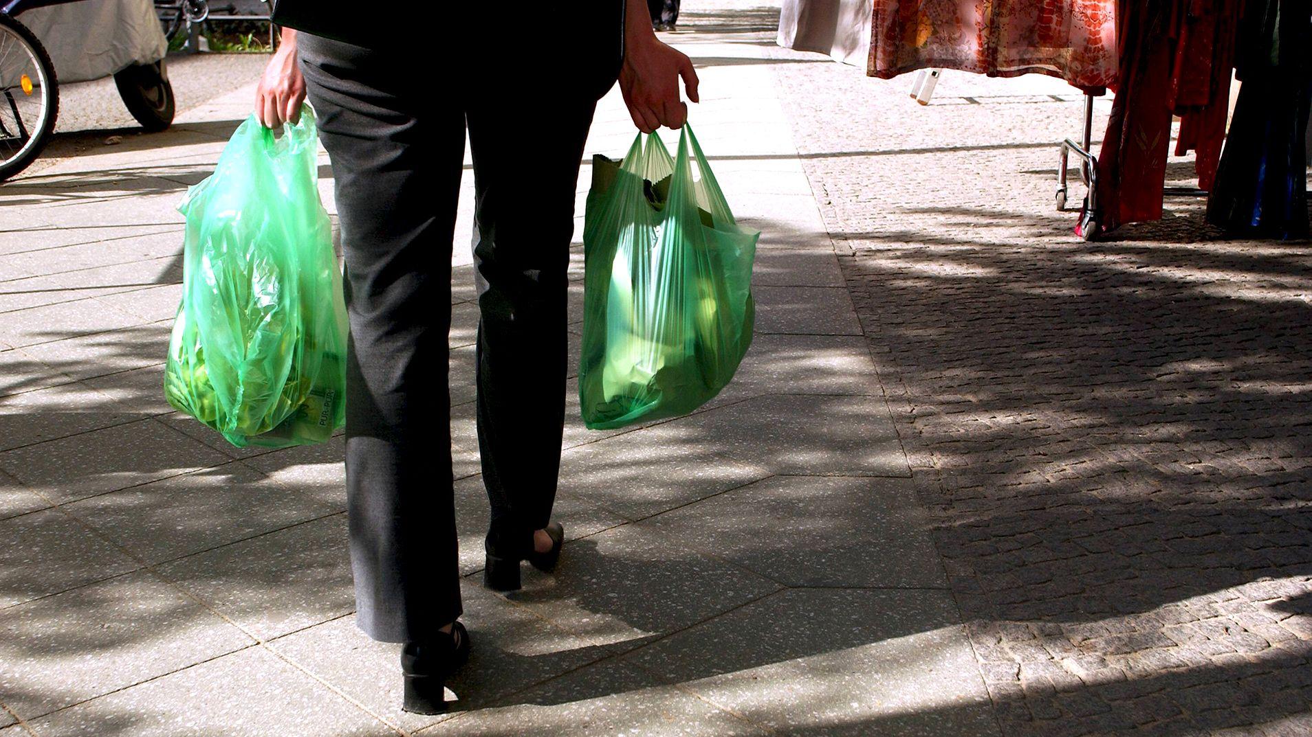Eine Frau trägt zwei grüne Plastiktüten.