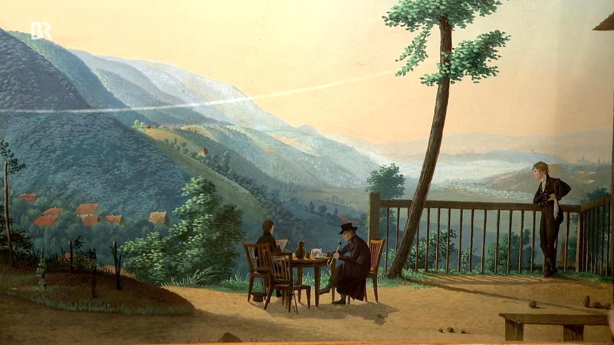 Blick In Die Landschaft Romantisches Blau Gemälde Schatzkammer