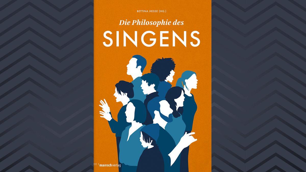 """Abstrakt gestaltetes Buchcover von """"Die Philosophie des Singens"""" mit mehreren Menschen, die im Chor singen."""