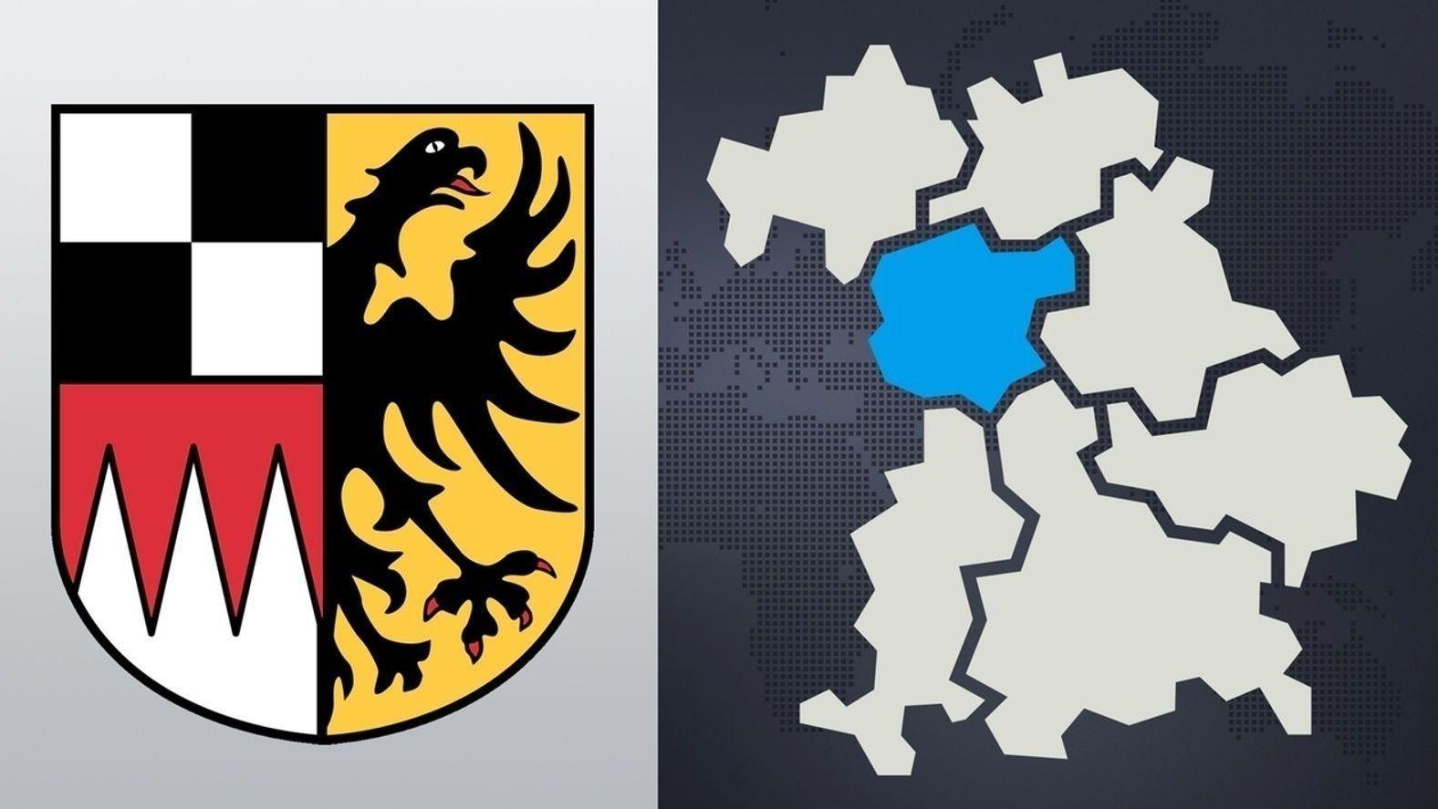 Das Wappen von Mittelfranken und der Bezirk auf der Landkarte