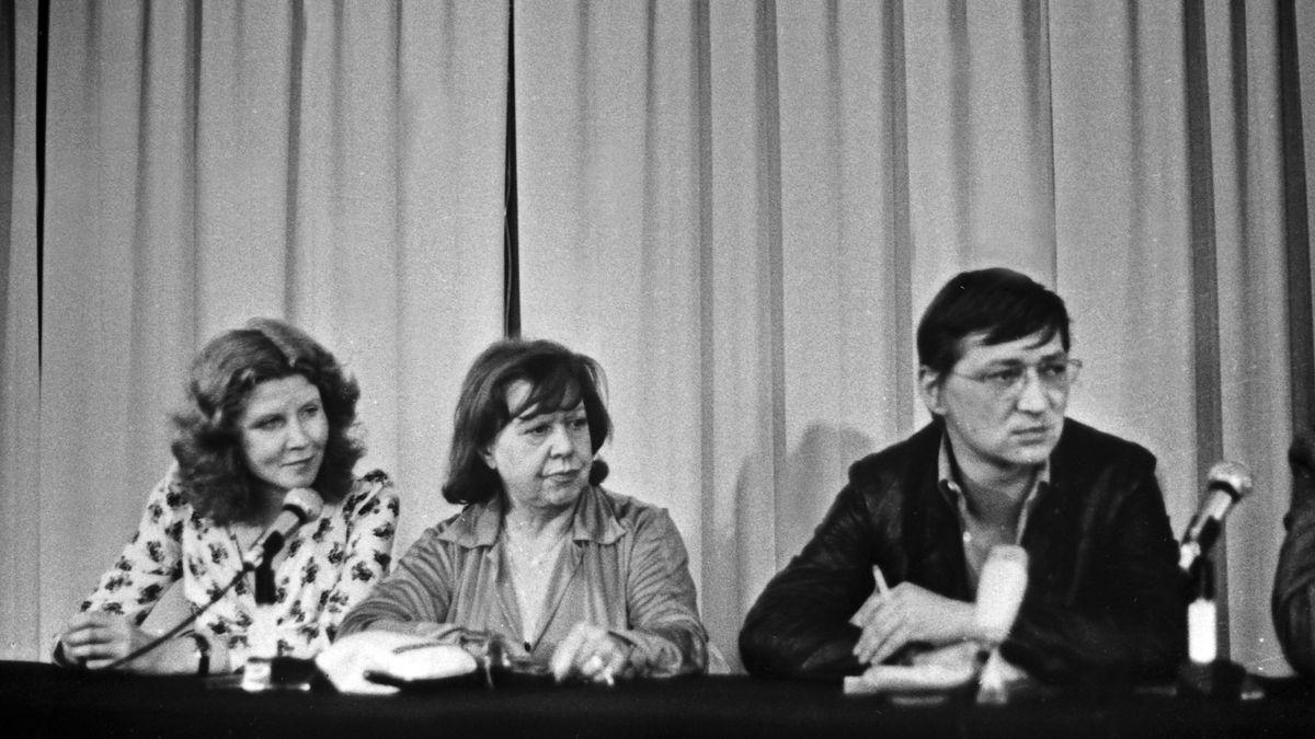 Irm Herrmann, Brigitte Mira und Rainer Werner Fassbinder, Cannes 1974