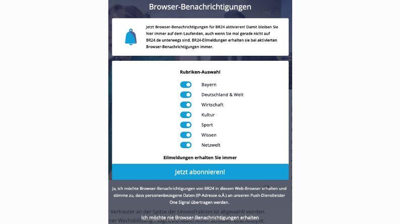 Abonnieren der BR24 Browser-Benachrichtigungen