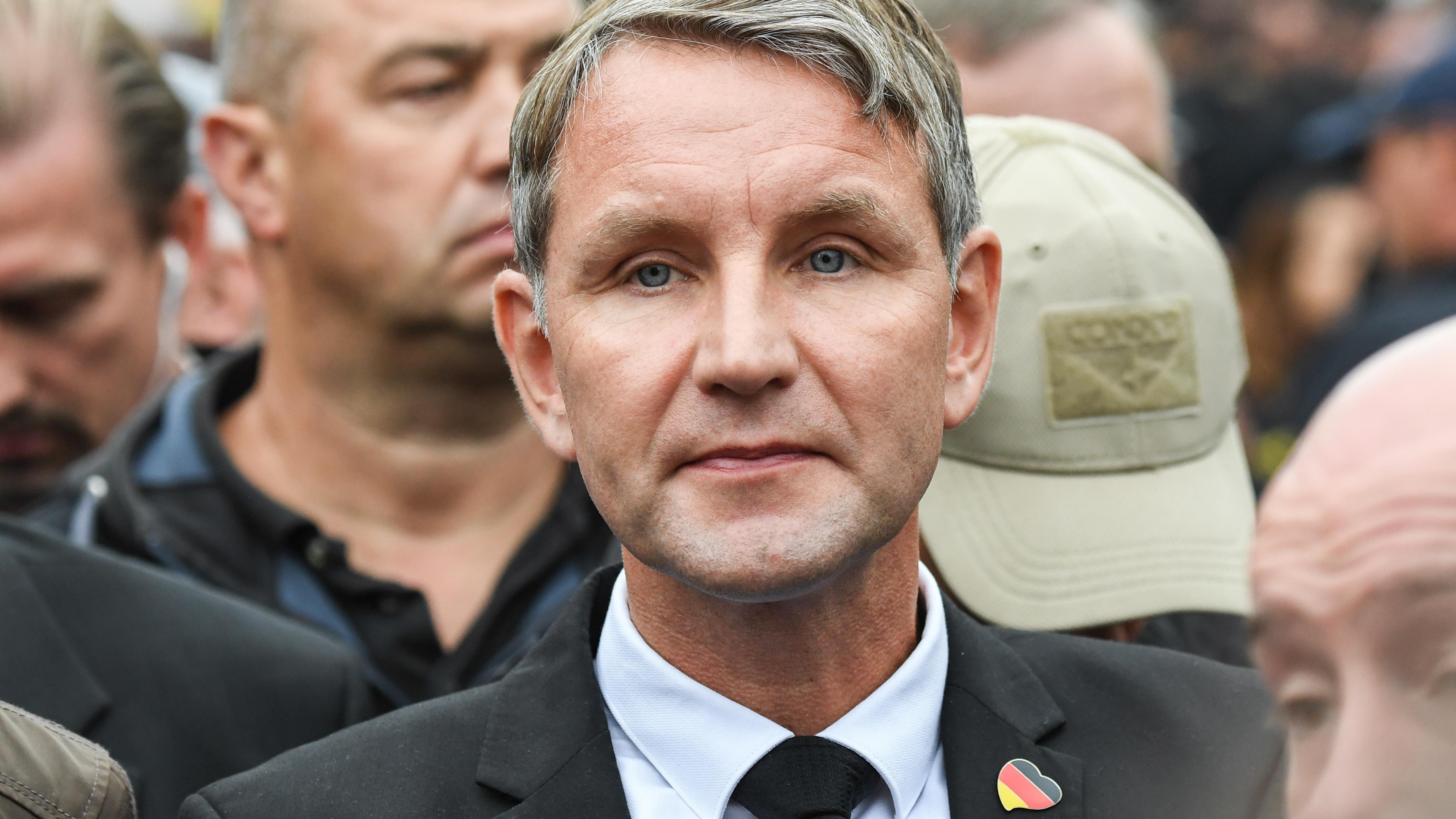 Björn Höcke nimmt am 1. September an einer Demonstration von AfD und dem ausländerfeindlichen Bündnis Pegida teil