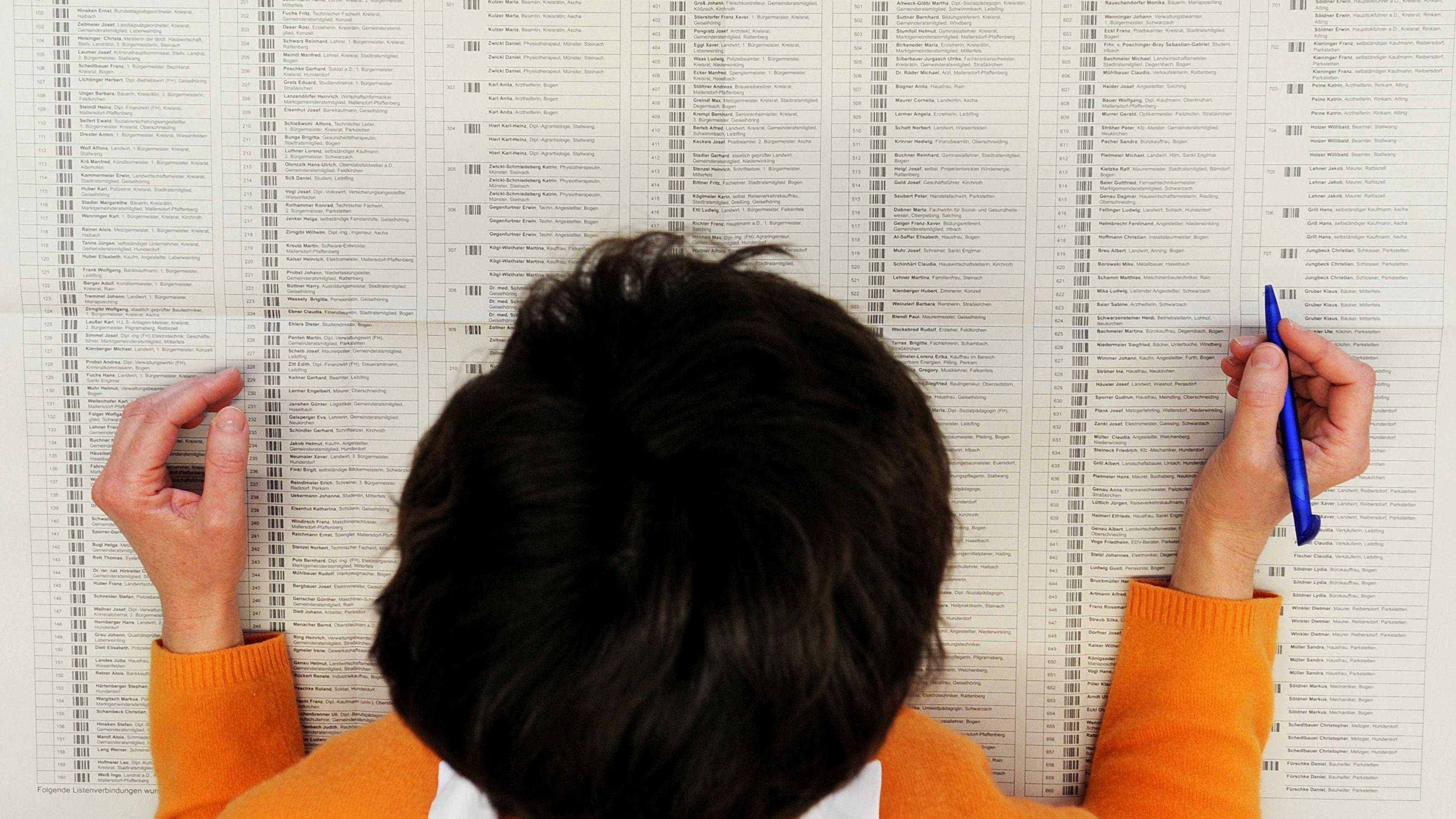 Frau vor Stimmzettel zur Wahl eines bayerischen Kreistags 2008.