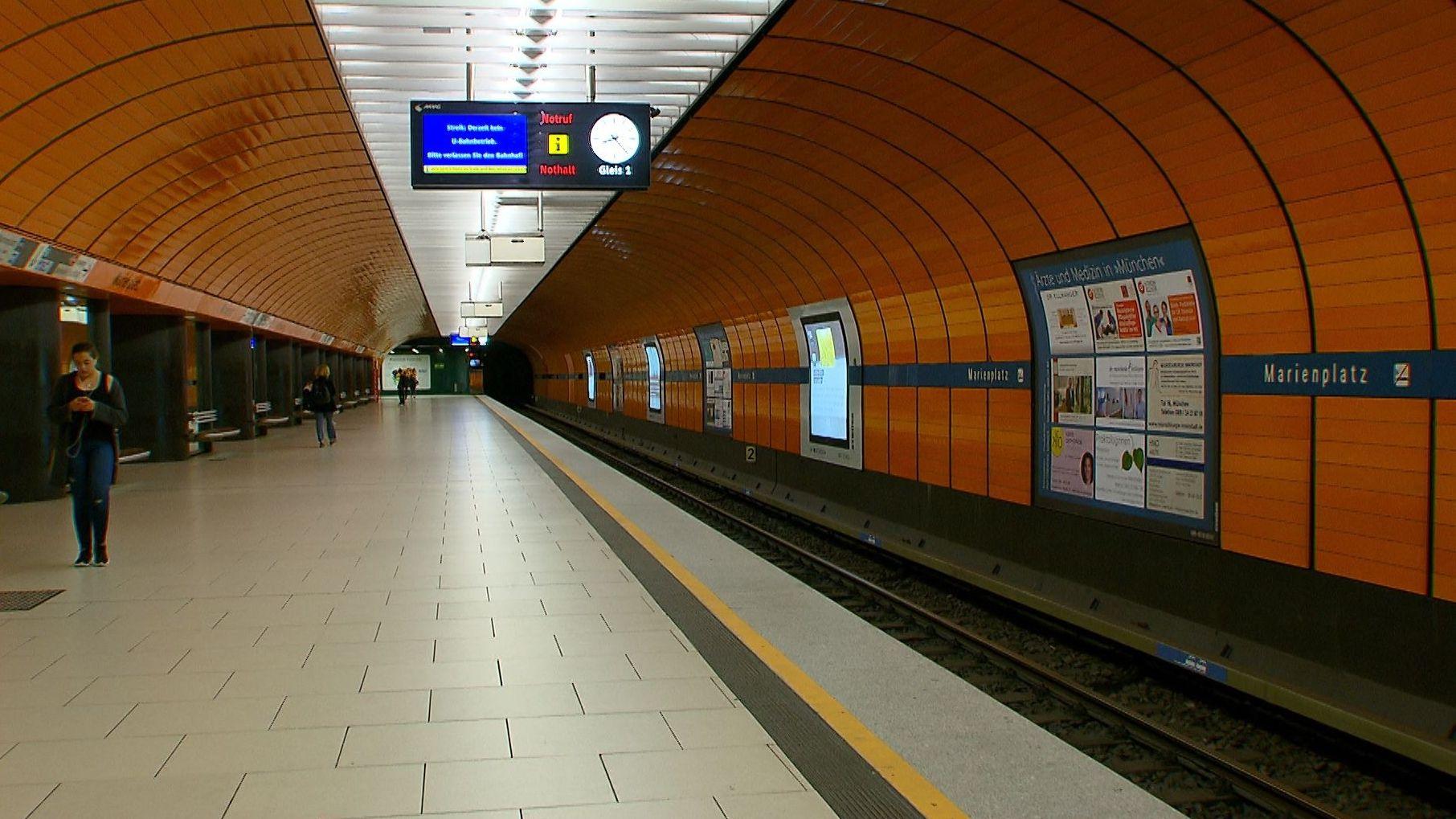 Leerer U-Bahnsteig am Marienplatz