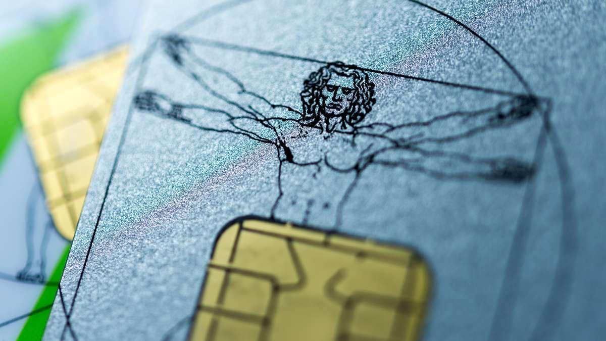Krankenversicherungskarten mit der Abbildung einer Skizze von Leonardo da Vinci
