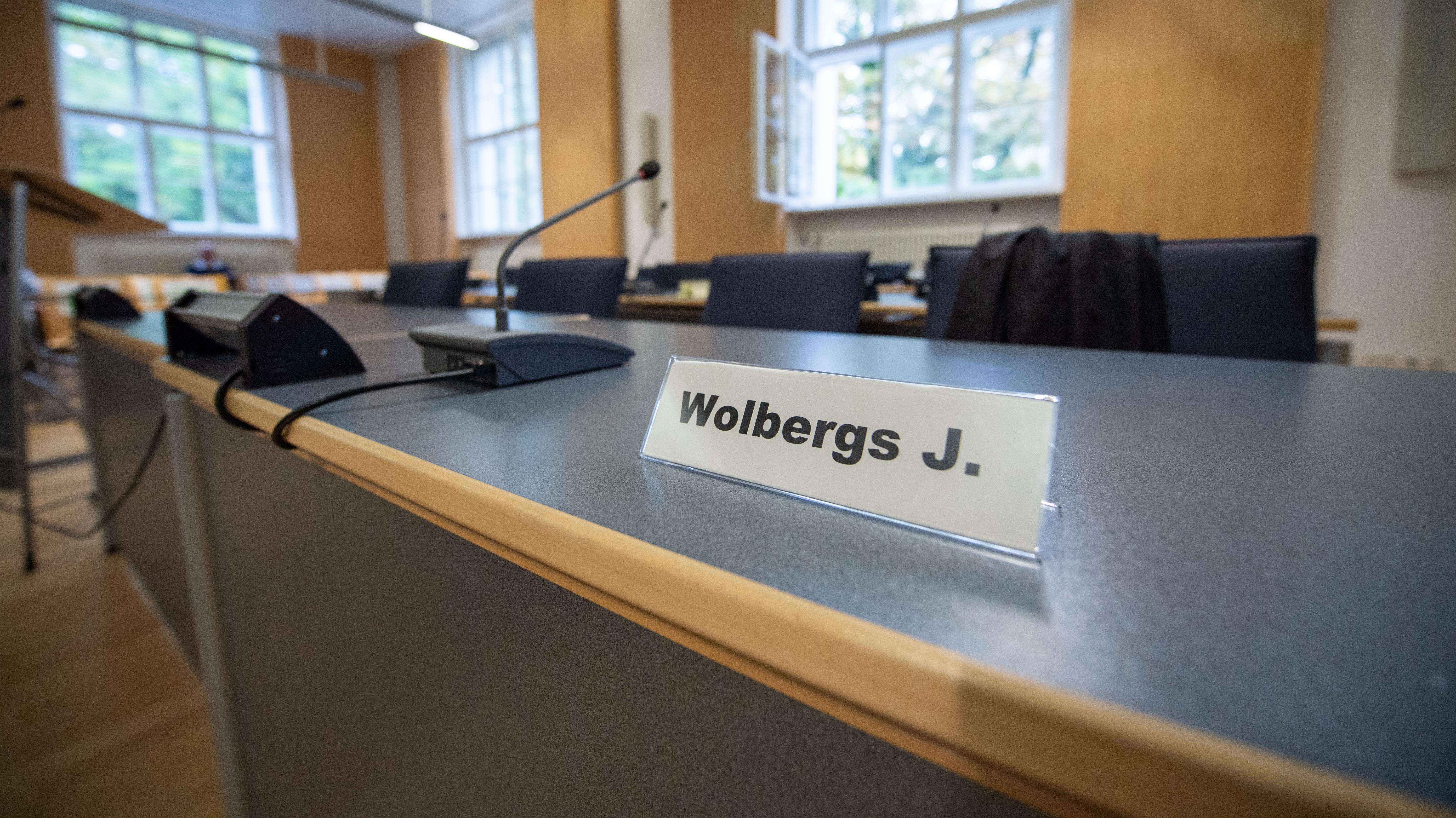 Das Namensschild von Joachim Wolbergs, dem suspendierten Oberbürgermeister von Regensburg