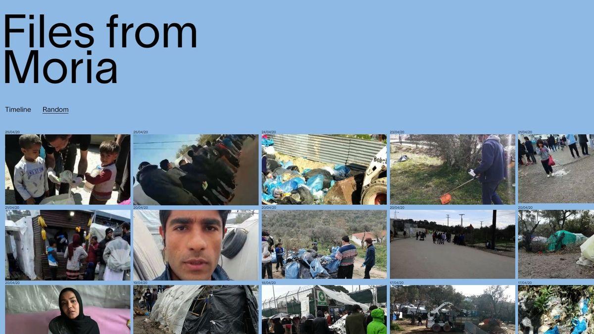 """Startseite """"Files from Moria"""": Videostandbilder auf blauem Grund"""