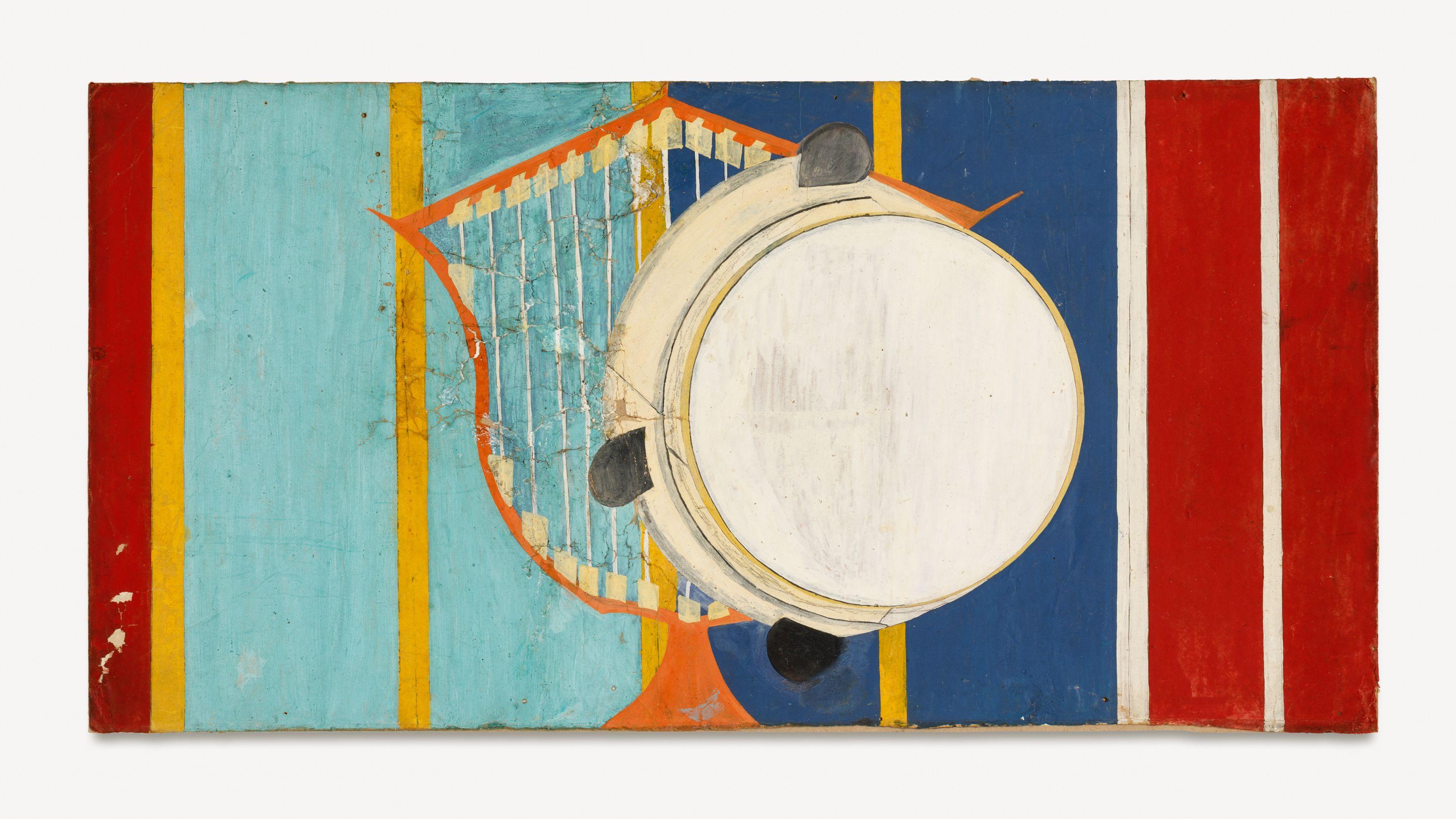 Abstraktes Bild im Querformat mit roten, gelben, türklisen und roten Längststreifen , in der Mitte eine Harfe und ein Tamburin