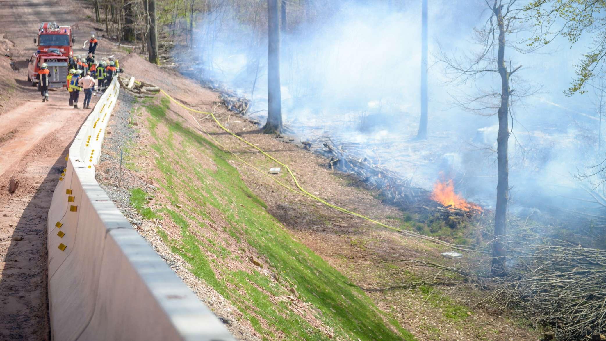Waldbrand bei Bischbrunn im Landkreis Main-Spessart