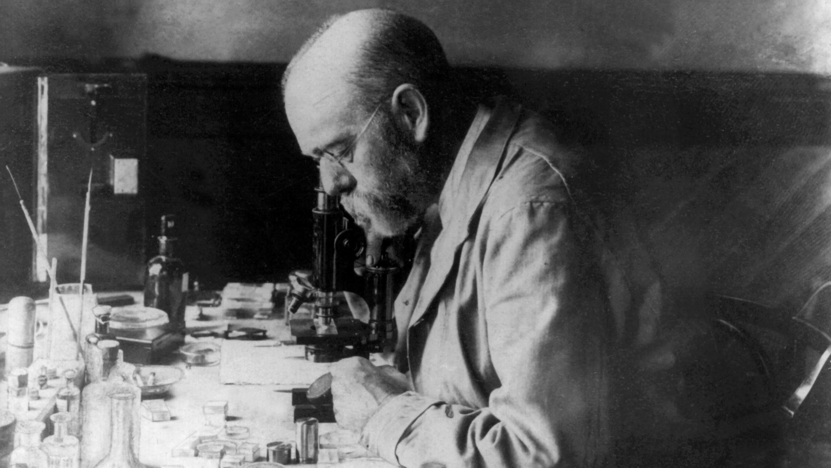 Der deutsche Arzt und Bakteriologe Robert Koch am Mikroskop in seinem Laboratorium in Kimberley in Südafrika im Jahr 1896.