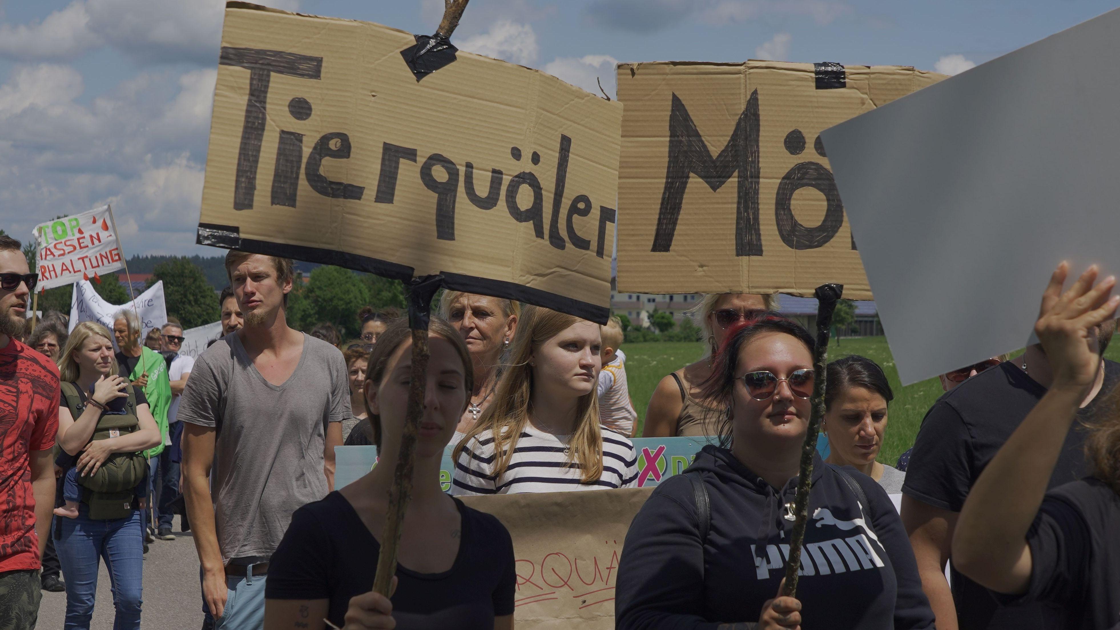 Tierschutz-Demonstranten laufen in Richtung Großbetrieb Endres