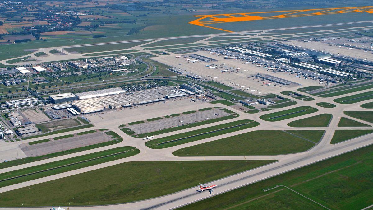 Flughafen München mit orangefarben eingezeichneter möglicher 3. Startbahn