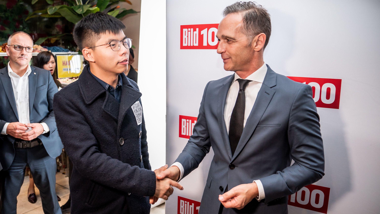 Außenminister Heiko Maas (SPD) begrüßt Joshua Wong, Demokratie-Aktivist der Proteste in Hongkong