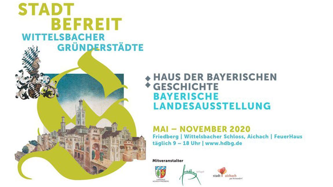 Plakat, das auf die Bayerische Landesausstellung hinweist, die im Mai hätte beginnen sollen