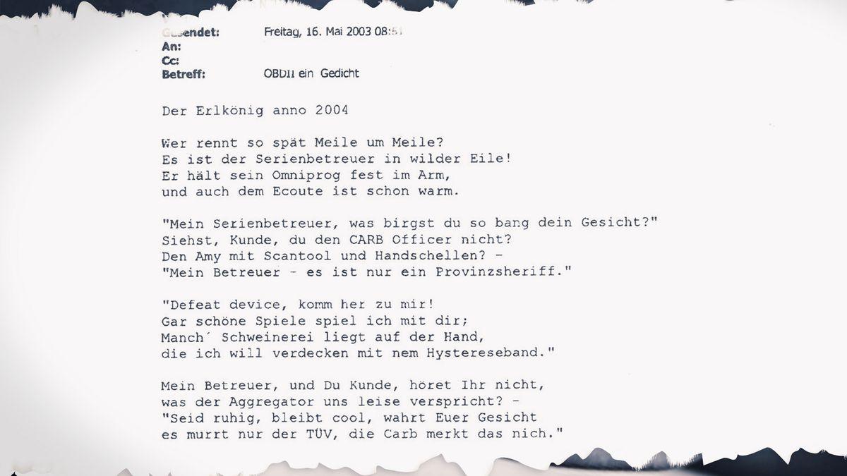"""Das Gedicht """"Der Erlkönig anno 2004"""" war ein besonderes Fundstück unter zehntausenden Dokumenten, die BR Recherche zugespielt wurden."""