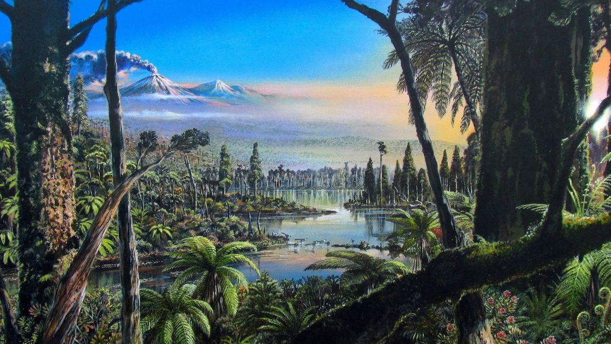 Dieses Acrylbild zeigt die Umweltbedingungen der Kreidezeit, die für den Bereich der Bohrung in der Westantarktis rekonstruiert werden konnten.