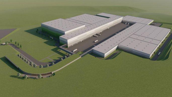 Eine Animation zeigt das geplante Edeka-Zentrallager in Marktredwitz.
