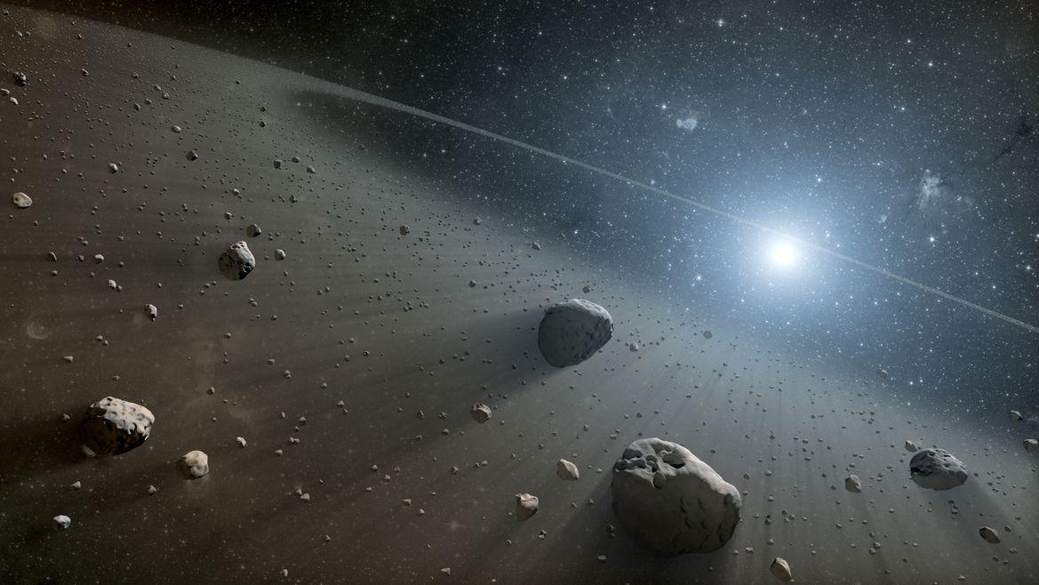 grafische Dastellung des Asteroidengürtels um die Sonne
