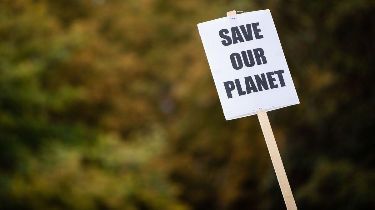 """""""Save our planet"""" steht auf einem Protest-Schild"""
