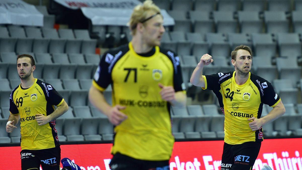 Coburgs Handballer (von links): Milos Grozdanic, Andreas Schröder, Tobias Varvne.