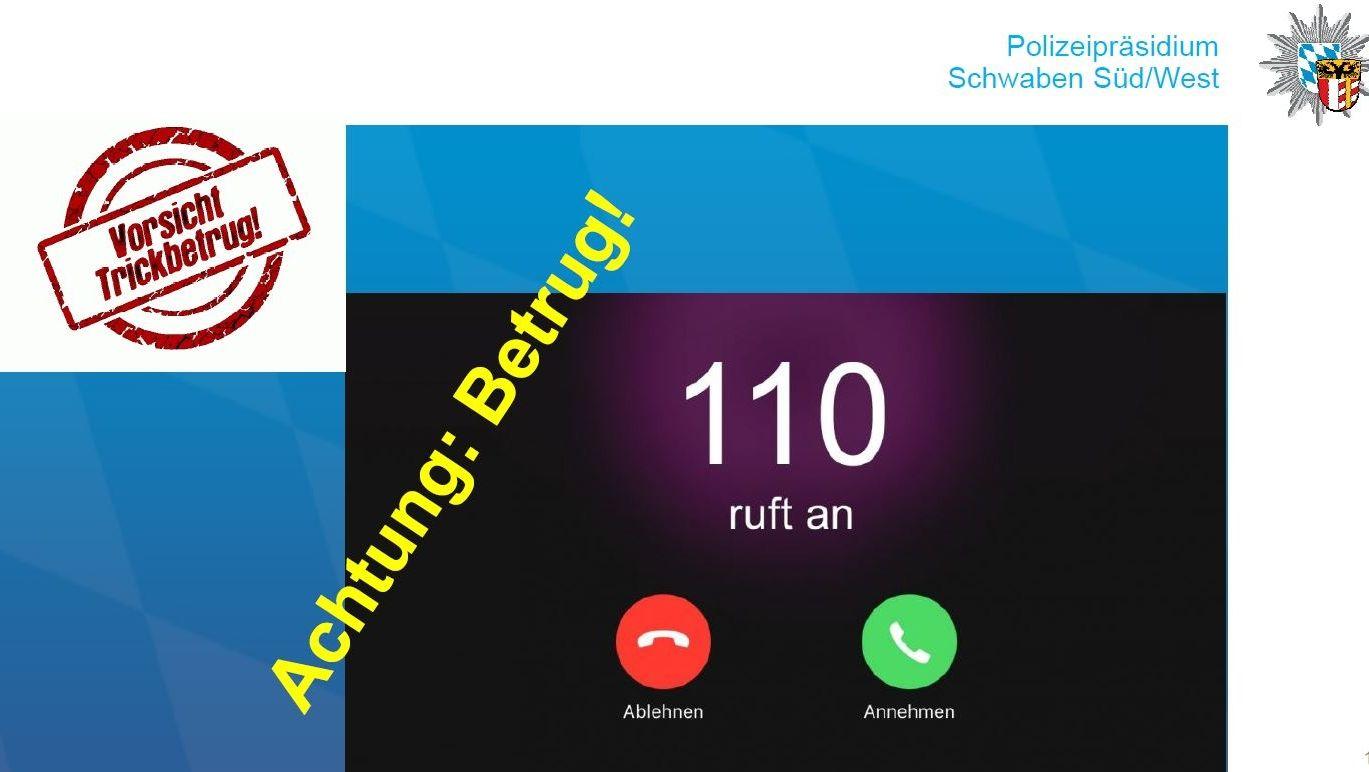 """""""110 ruft an"""" - Fotomontage der Polizei zu Betrugsanrufen"""
