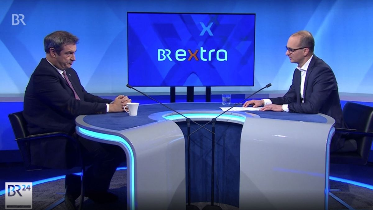 Bayerns Ministerpräsident Markus Söder im Gespräch mit BR-Chefredakteur Christian Nitsche