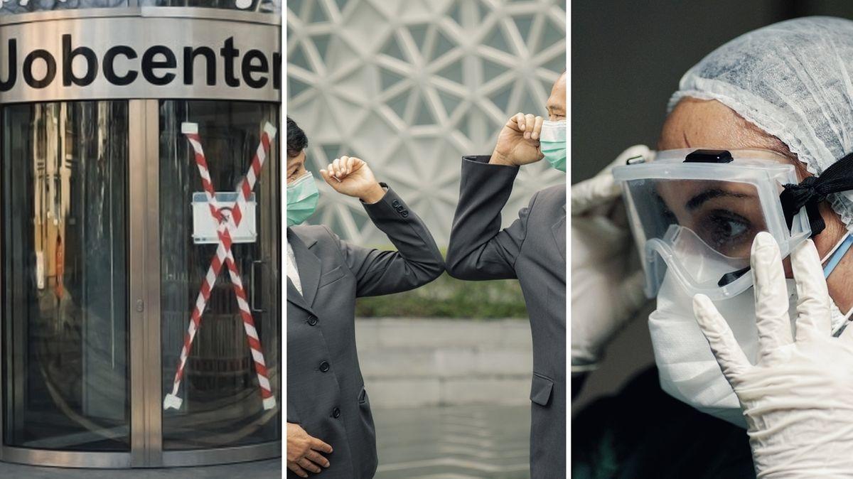 Fotomontage: Eine abgesperrte Drehtür, Begrüßung per Ellbogen, eine Frau mit Schutzkleidung