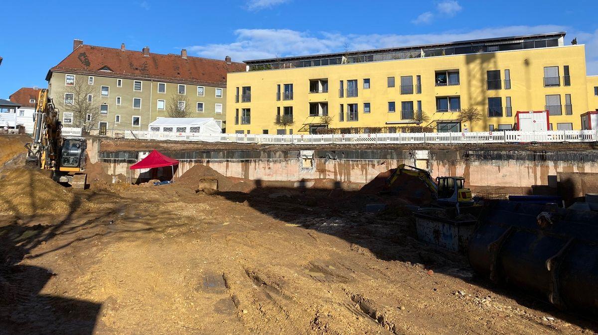 Fundort der Fliegerbombe in der Augsburger Straße in Regensburg