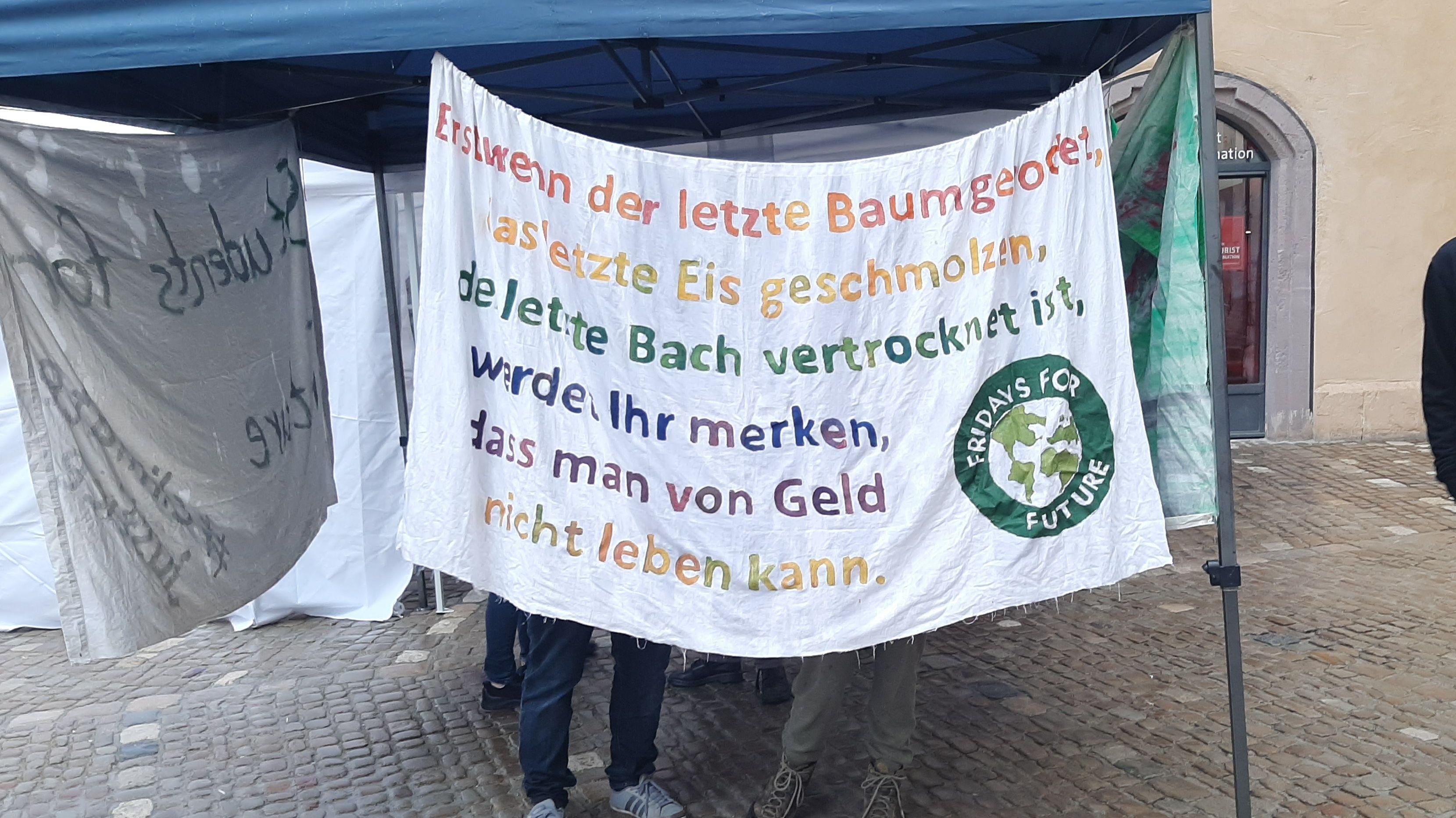 Ein Plakat der Fridays-for-Future Bewegung in Regensburg