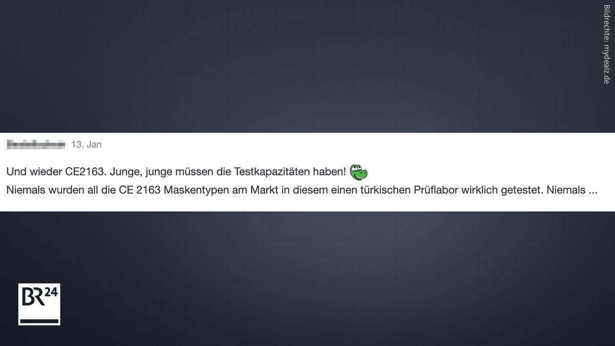 Auf einem Schnäppchenportal bezweifelt ein Nutzer, dass ein türkisches Prüflabor reihenweise FFP2-Masken getestet hat.