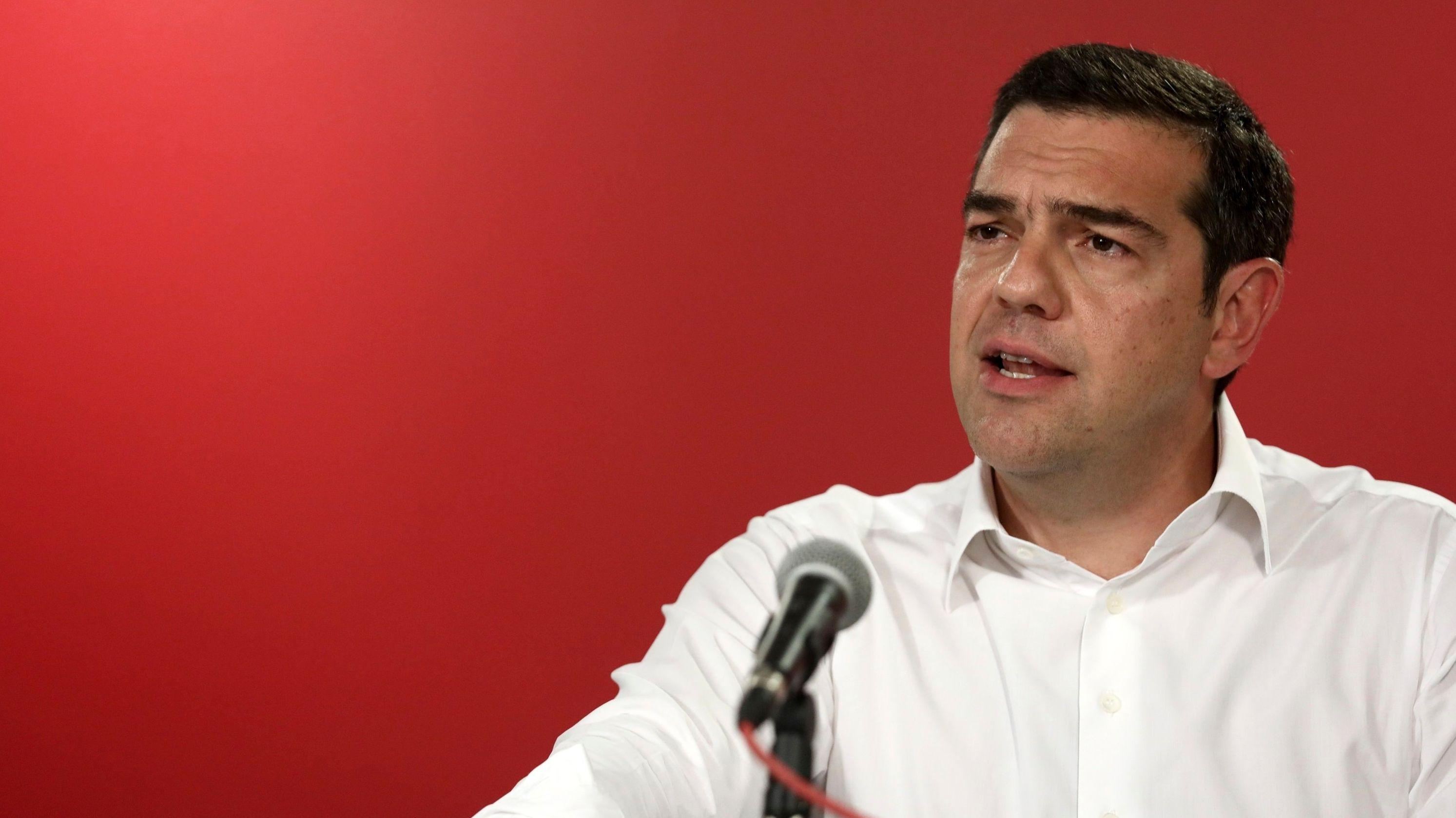 Alexis Tsipras, Premierminister von Griechenland, spricht nach der Europawahl in der Parteizentrale.